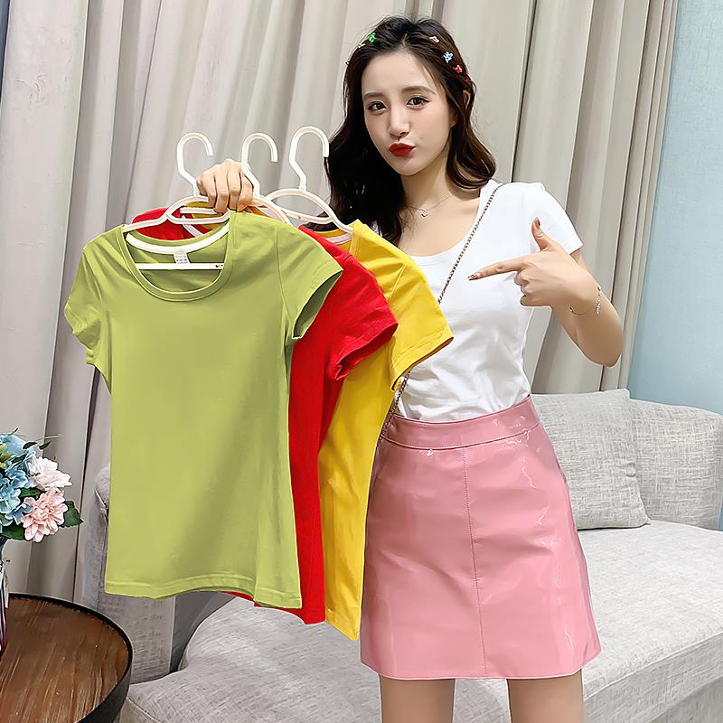 2020年新款短袖t恤女纯色打底衫内搭纯棉夏装修身短款上衣体桖潮