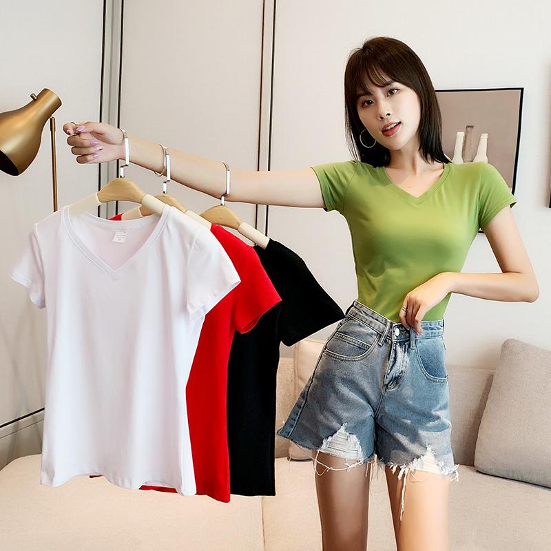V领纯棉t桖夏纯色紧身上衣韩版t恤修身短袖女白色低领打底衫黑色