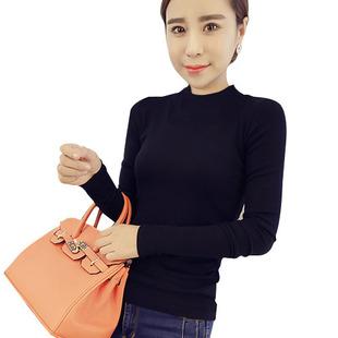 黑色長袖半高領T恤衫修身韓版女裝大碼純色棉上衣體恤衫打底衣潮