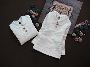 春秋新款童装 女童纯棉蕾丝打底衫韩版长袖白色儿童半高领T恤