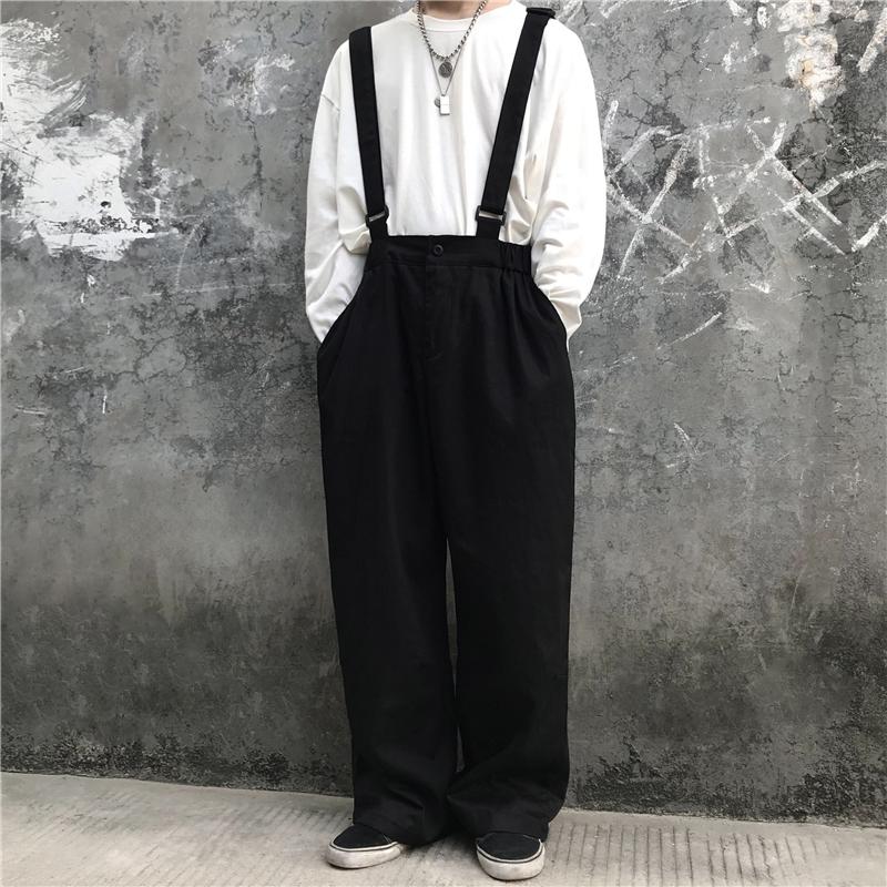 5514-P45 2020新款韩版宽松暗黑可拆卸复古百搭休闲背带裤潮流男