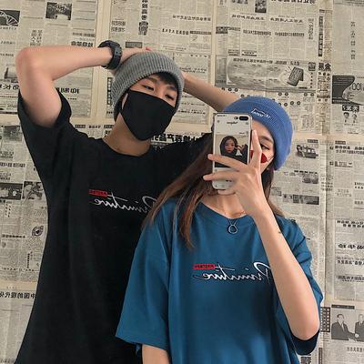 韩国ins字母刺绣宽松百搭上衣休闲情侣短袖T恤男女同款241P35