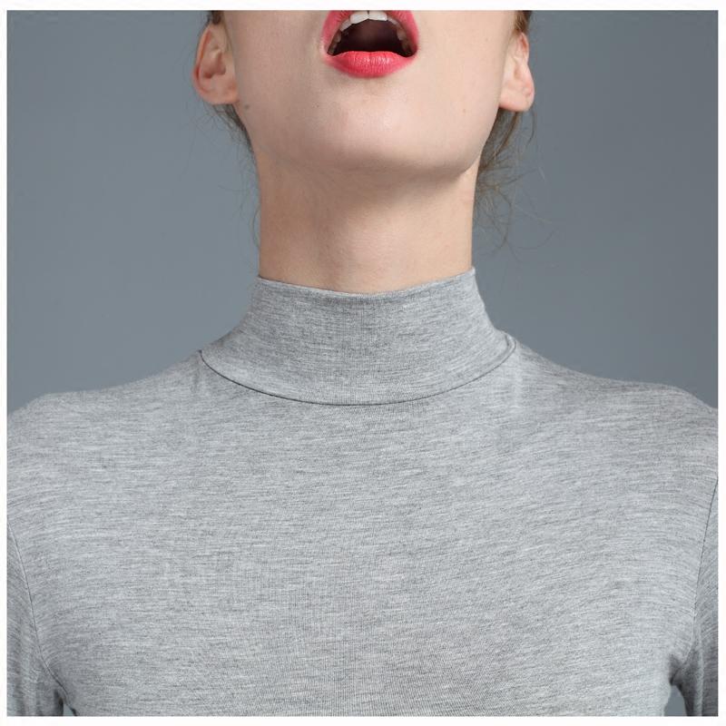 莫代尔打底衫长袖单件薄款秋衣女内穿紧身贴身上衣女纯棉保暖内衣
