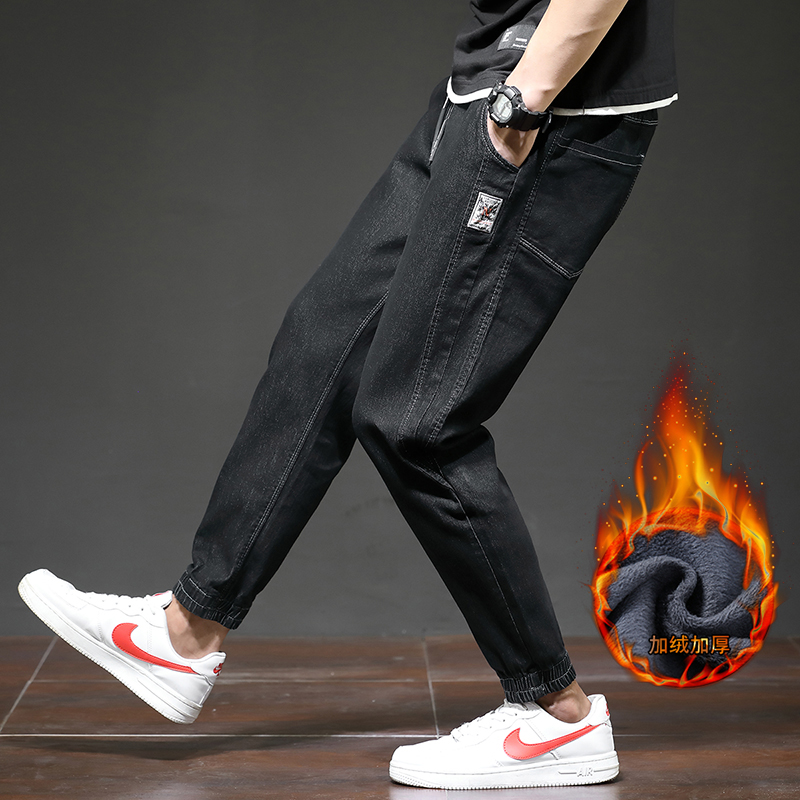 加绒加厚牛仔裤男日系宽松束脚哈伦裤  XZ415B-1901束脚加绒-P53