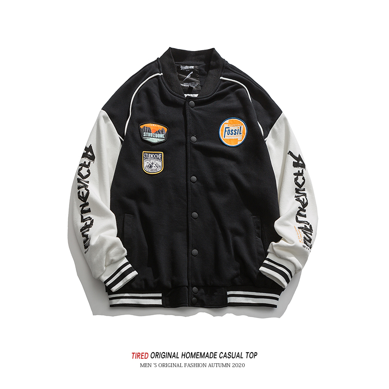 American trendy brand color matching jacket men's spring and autumn loose trendy men's baseball uniform couple wear all-match casual jacket men's jacket
