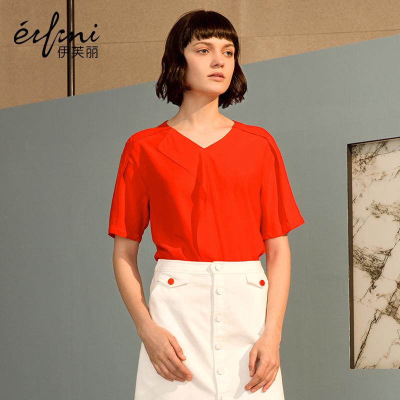 【商场同款】伊芙丽新款体恤女韩版V领T恤女夏1170426320591