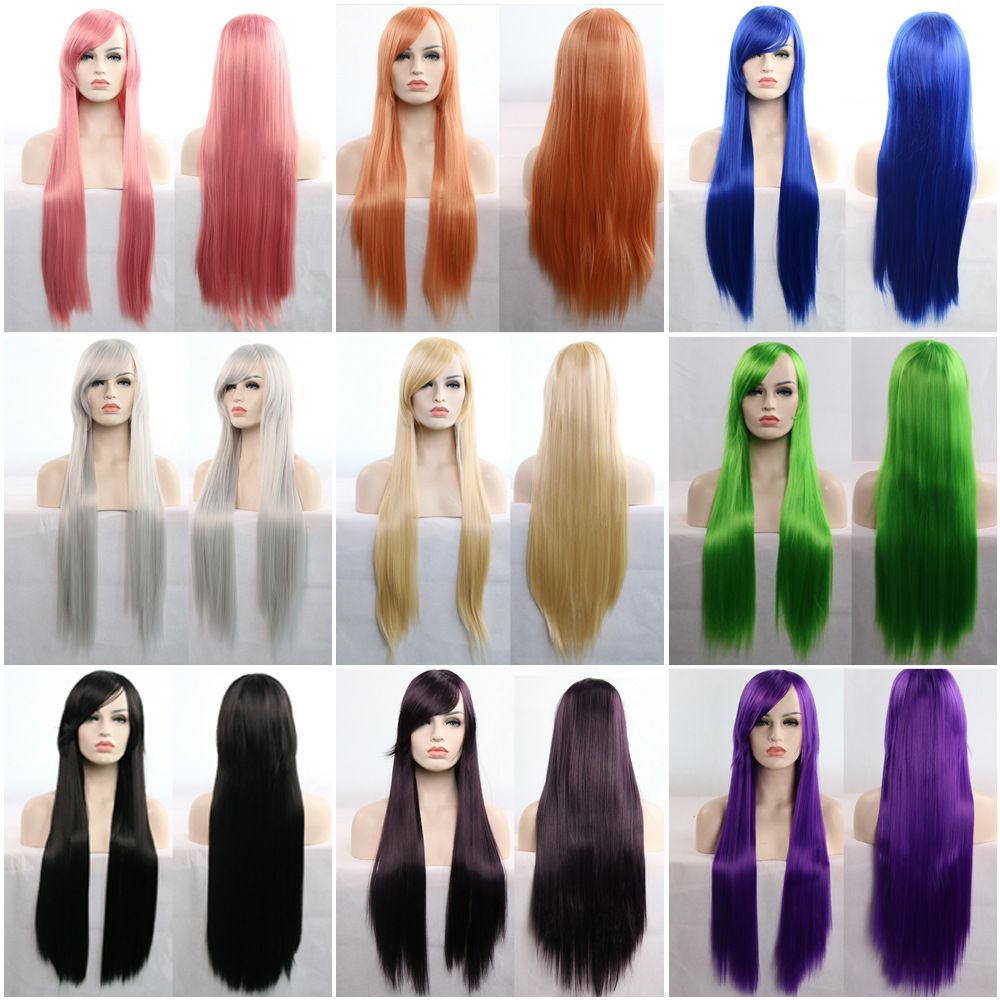 Cartoon wig Cosplay role play colorful horse yuansufeng 80cm long straight hair and other wigs