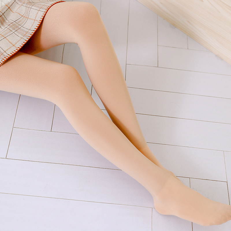 Womens padded legged panties with thin bare legs and meat color socks