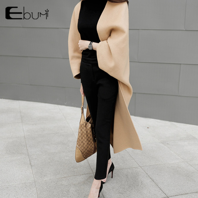 Super long fashion cocoon Cape wool coat women's medium length loose double side woolen cloth coat with shoulder over knee