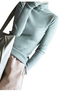 韩版秋冬新高领羊绒衫短款打底衫