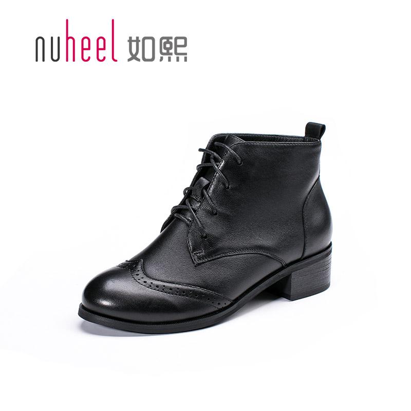 如熙2016年 短靴真羊皮粗跟女靴子短筒高跟女鞋圓頭馬丁靴