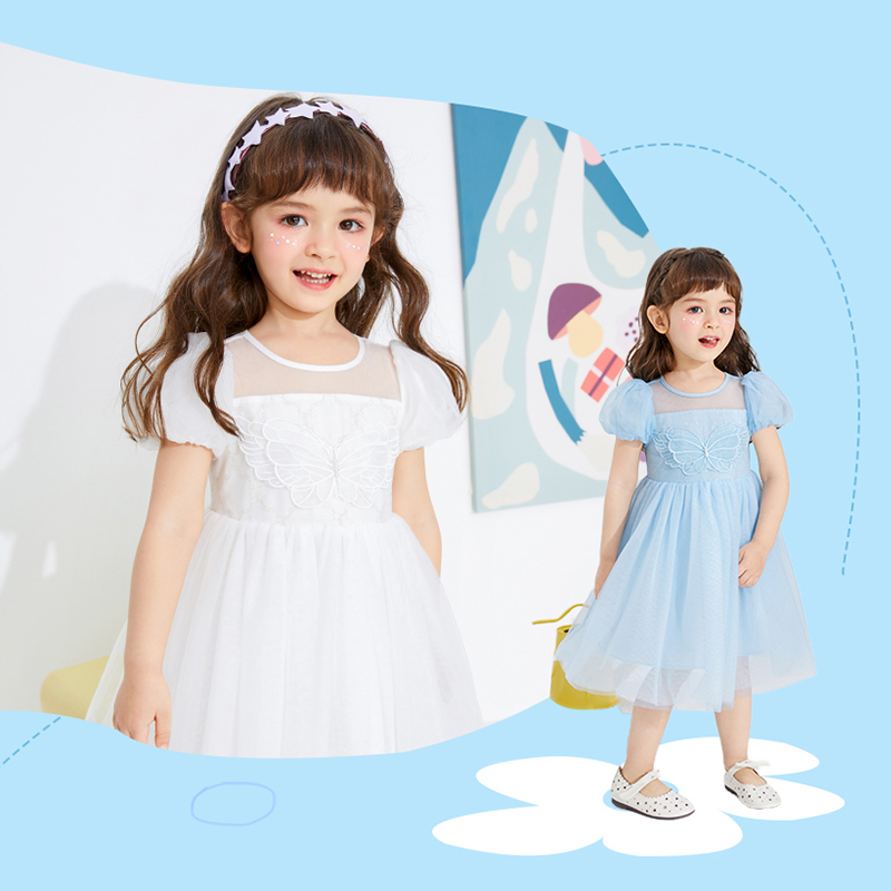 Balabala children's dress girl skirt children's mesh princess skirt summer 2021 new child baby dress