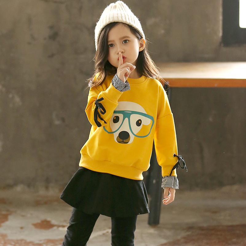 女童纯棉洋气套装春秋装2019新款韩版时尚潮衣中大童装裙裤两件套
