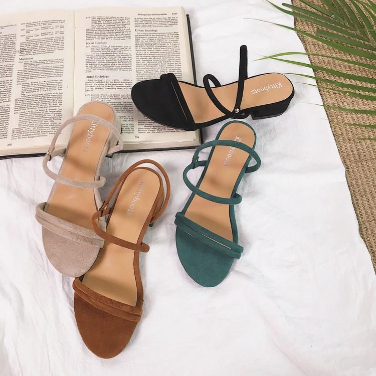 2018新款复古韩国风绒面方跟简约露趾夏季女士凉鞋休闲鞋气质凉拖