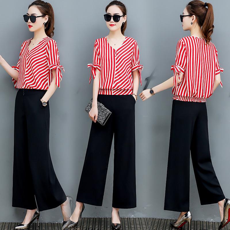 欧货套装显瘦2019新款时尚女装气质衬衫裤子休闲两件套洋气阔腿裤