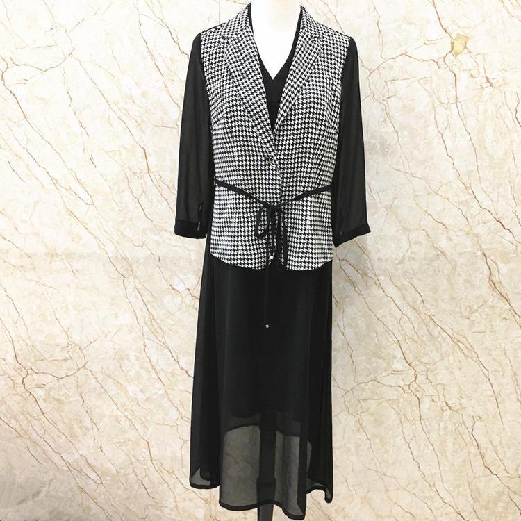 2020春秋装品牌专柜特卖 LYB-C9073修身拼色假两件雪纺格子连衣裙