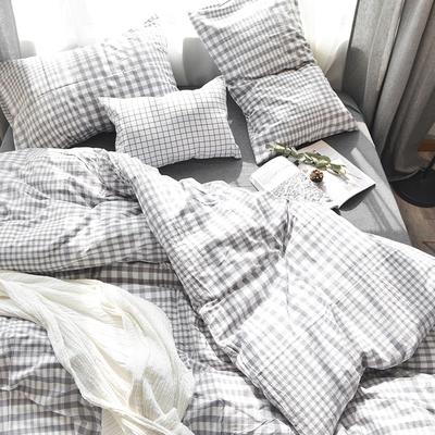日式色织水洗棉四件套全棉纯色超柔格子纯棉1.8m床笠床单款4件套