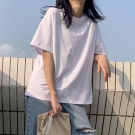 纯白短袖t恤韩版宽松全棉落肩半袖夏季新款纯色港风少女休闲上衣