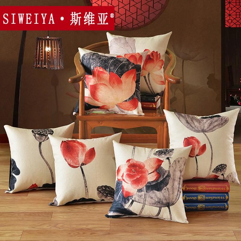 斯維亞中式抱枕水墨荷花新古典木沙發靠墊床頭腰靠枕靠背腰枕含芯