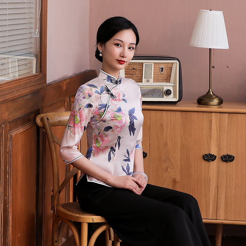 2020 silk improved cheongsam top, Chinese style, Chinese style, retro Tang suit top