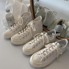 夏季百搭小白鞋日系复古奶白色帆布鞋女1970s纯白色高低帮休闲鞋图片