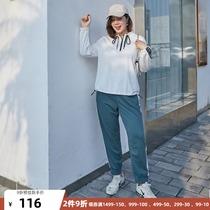 纤莉秀大码女装2021春夏新品200斤胖mm针织衫搭配休闲裤运动套装