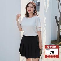 【清仓70元】纤莉秀大码女装淑女气质上衣200斤胖mm遮肚短袖衬衫