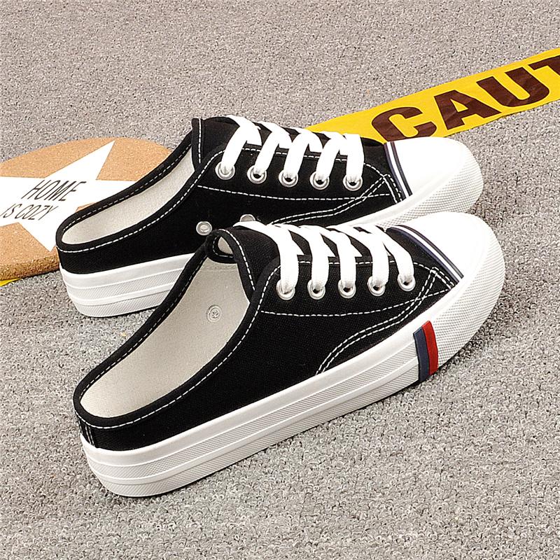 黑色帆布鞋夏季包头半拖鞋无后跟小白鞋一脚蹬懒人鞋透气女鞋子潮(用0.010000000000002元券)
