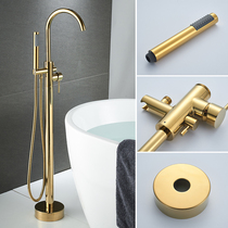 European All-copper retro floor-to-ceiling bathtub hot and cold faucet cylinder side vertical column basin wall shower column sprinkler