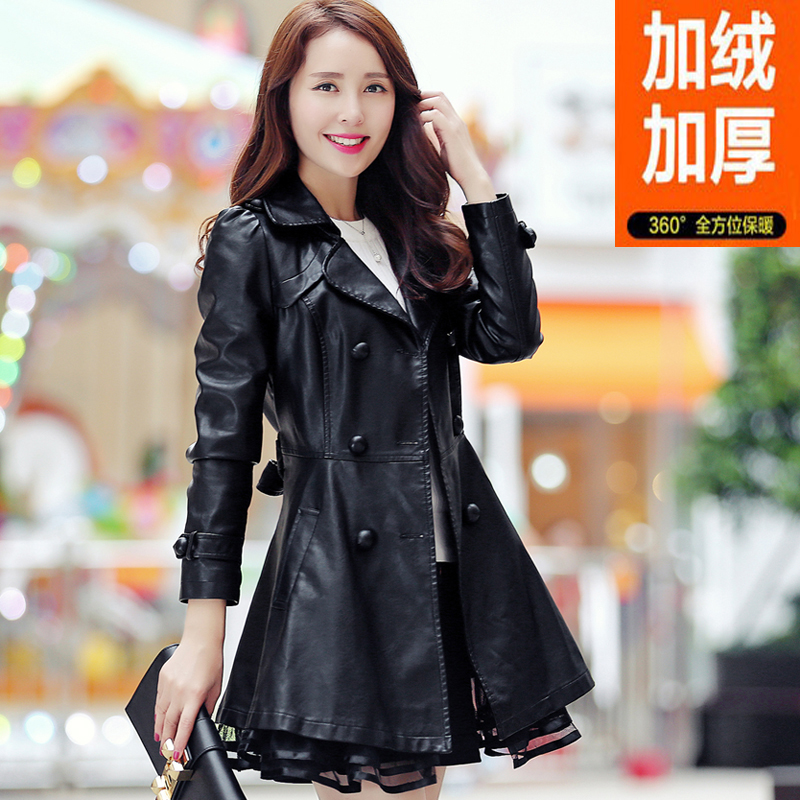 2020 spring and autumn winter new womens PU leather clothes womens middle long slim and plush thickened windbreaker coat large size