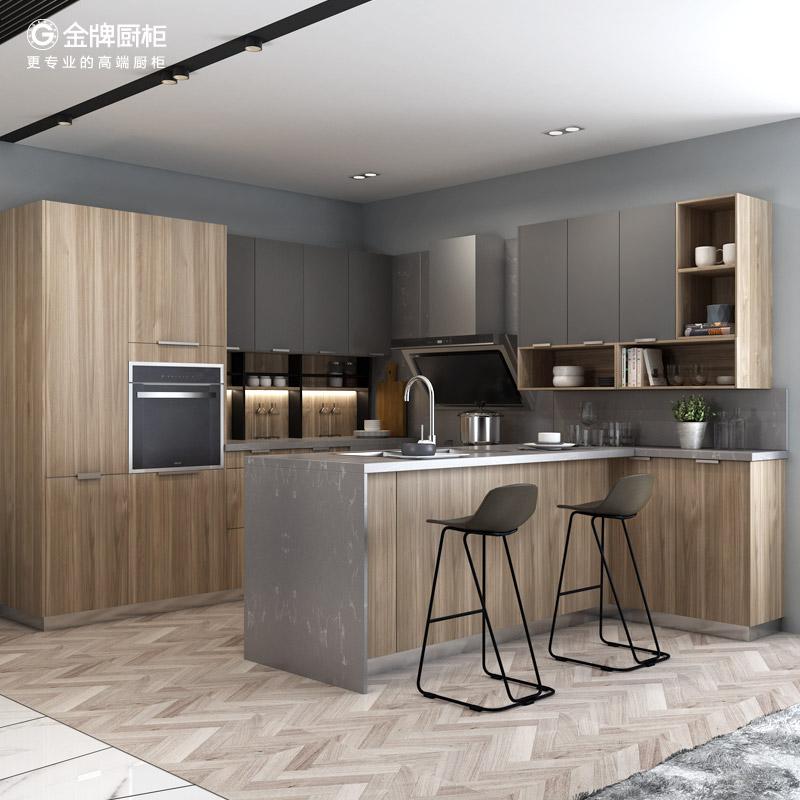 金牌厨柜整体橱柜定做枫之木语2石英石台面厨房厨柜定制金牌橱柜