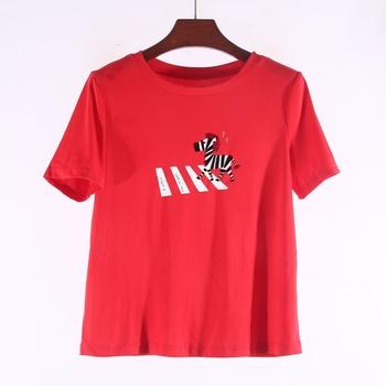 【爱】品牌折扣正品女装新款夏季鲜红小马印花纯棉弹力T恤3F037