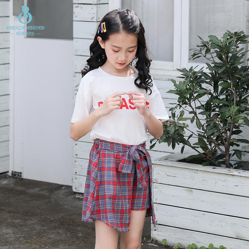 呗亲呗比中大女童夏季套装女童新款印花T恤裤裙纯棉运动风套装潮