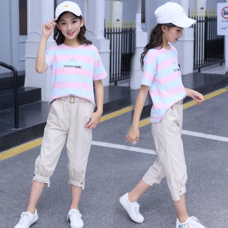 10月21日最新优惠女童夏季套装2019年新款童装超洋气8大童12-15岁时尚10运动两件套