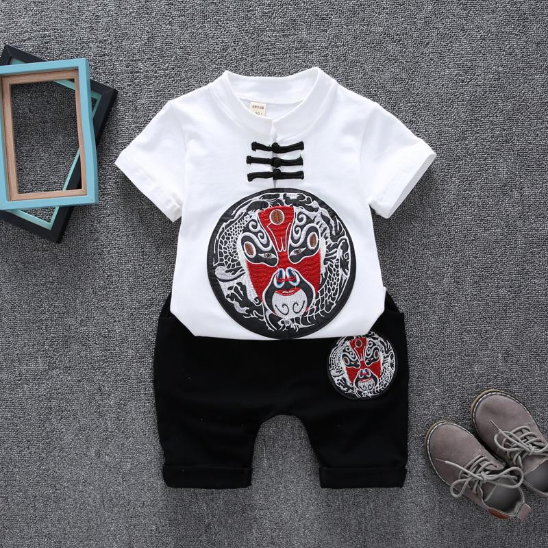 民族风1儿童唐装2男童女童夏季3棉麻短袖套装-4岁宝宝汉服童装5
