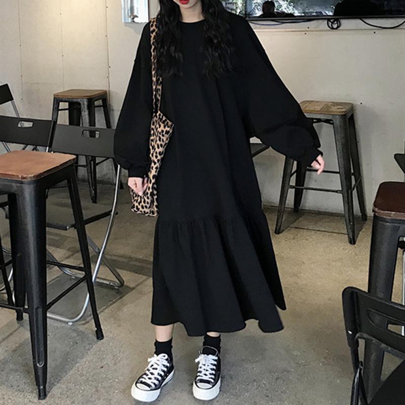 10-15新券秋季2019新款韩版过膝中长款小黑裙学生宽松长袖荷叶边连衣裙女