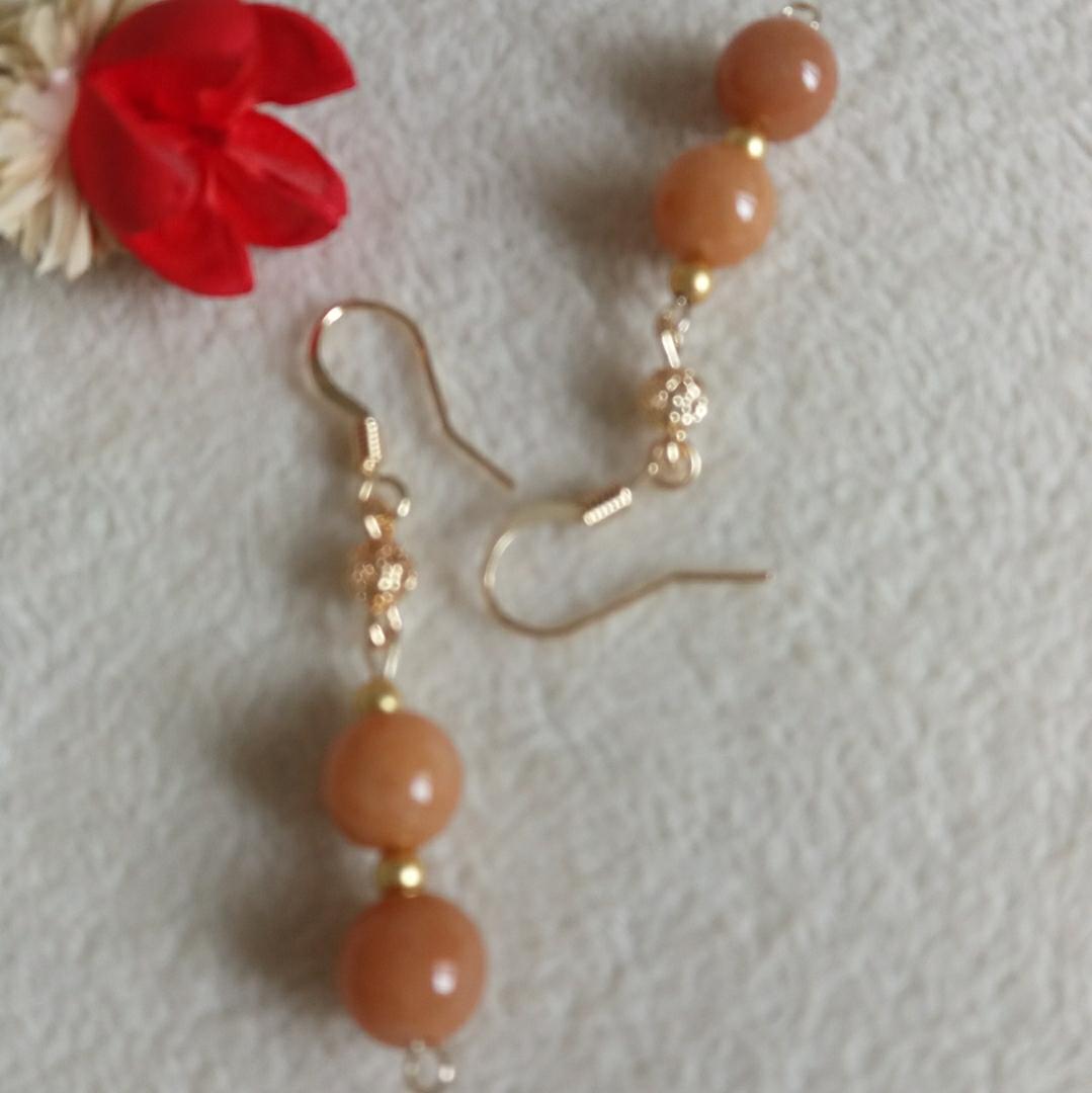 オリジナルデザインの赤翡双珠輸入14 k包金が色落ちしない森ガール系耳勾個性レトロスタイル