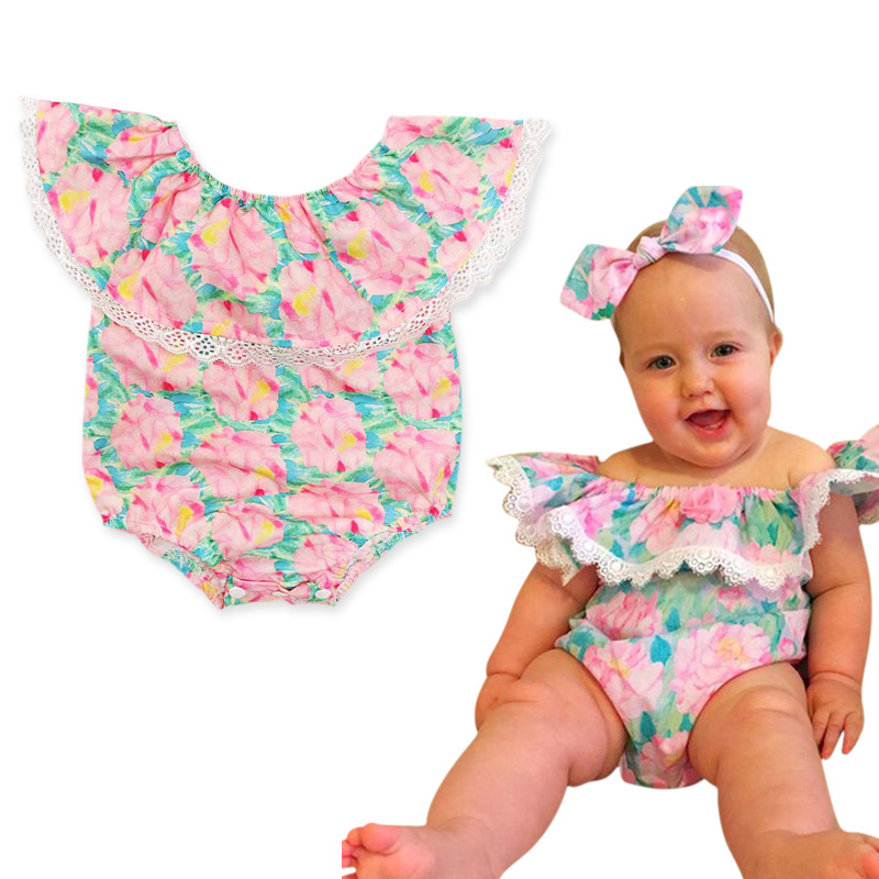 Childrens European and American summer girls off shoulder floral one-piece creeping suit childrens one-piece clothes
