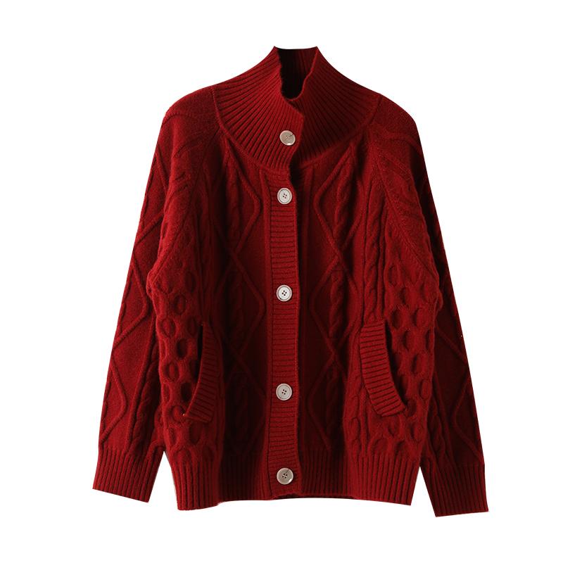 宝诗黎高领红色毛衣宽松韩版开衫评测参考