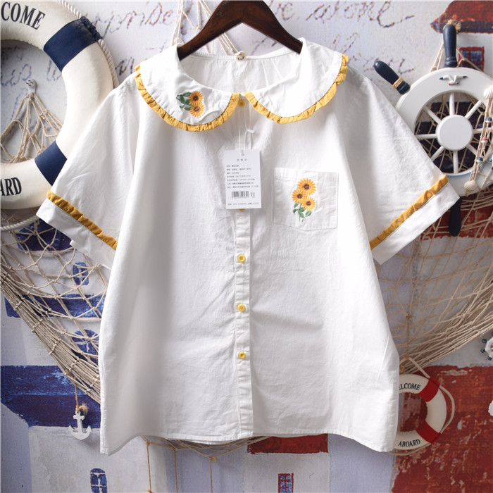 日系软妹森女系复古小清新向日葵刺绣荷叶边娃娃领短袖白衬衫上衣