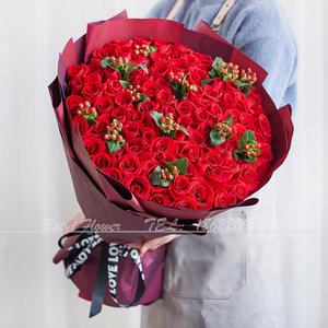 天津同城速递99朵红粉大型送白玫瑰