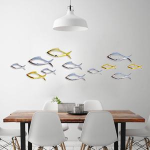 创意家居墙饰壁饰电镀镂空鱼背景墙装饰品酒店房间墙面挂饰免打孔