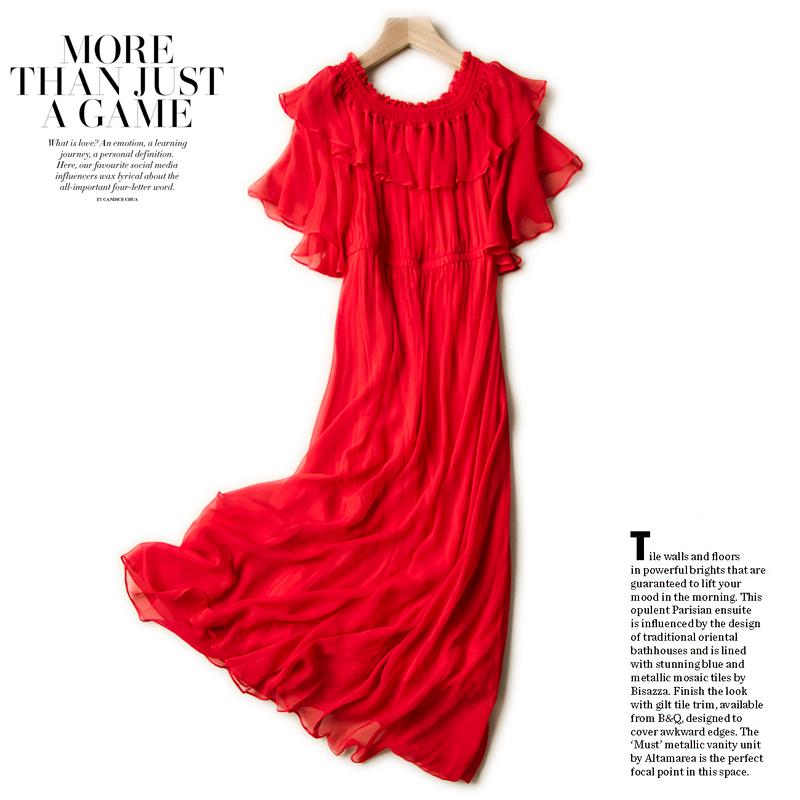 很仙的连衣裙夏真丝乔其荷叶边纯色裙子桑蚕丝一字领圆领度假长裙