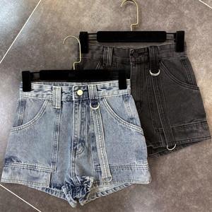 高腰牛仔短裤子大口袋显腿长飘带装饰2020夏季女装百搭新款阔腿裤