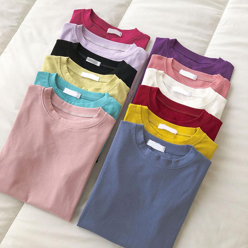 网红短袖T恤潮夏季2021新品女装韩版ins流行纯色学生百搭圆领上衣