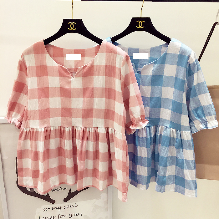 Пост 2016 лета свежий и сладкий плед Корейский Кукла рубашки свободные v шеи юбка футболка платье