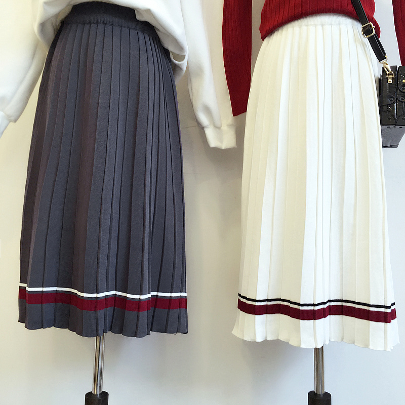 2016 Korean winter school dress hem all-match wind STRIPE ELASTIC WAIST knitted pleated skirt skirt in female