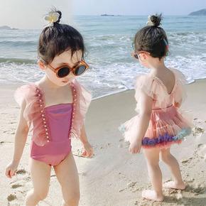 儿童泳衣女连体女童泡温泉婴幼儿超仙公主纱裙泳装小童速干游泳衣