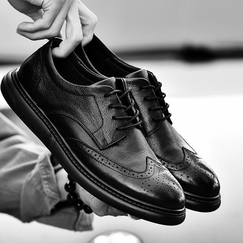 全黑色软皮布洛克雕花皮鞋平底系带透气头层牛皮男土巴洛克单鞋子