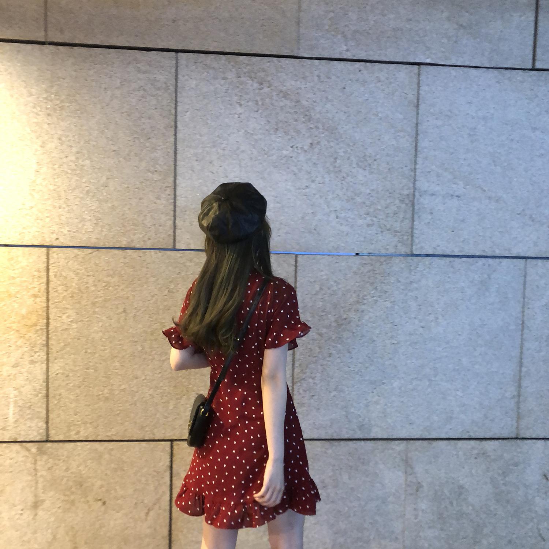 kumayes爱心红色波点雪纺连衣裙女2019新款夏v领超仙甜美短袖裙子